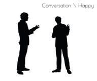 Vektorillustrationen för EPS 10 av mannen i lyckligt samtal för konversation poserar på vit bakgrund royaltyfri illustrationer