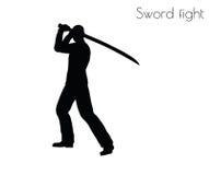 Vektorillustrationen för EPS 10 av mannen i swordfighthandling poserar på vit bakgrund Arkivbild