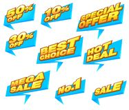 Vektorillustrationen für den Einkauf, Satz flache Entwurfsverkaufsaufkleber , Produktförderungen, Website und bewegliche Websitea lizenzfreie abbildung