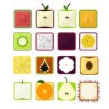Vektorillustrationen i ett plant stilpapper med skuggor, bildfyrkanten stiliserade frukt Arkivfoto
