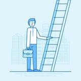 Vektorillustrationen i moderiktig plan linjär stil i blått färgar stock illustrationer