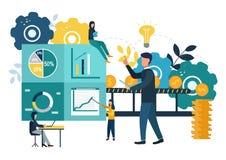 Vektorillustrationen, investeringledning, teamwork, nya idéer och växande kassavinster, rusar tillväxt till framgång, affär vektor illustrationer