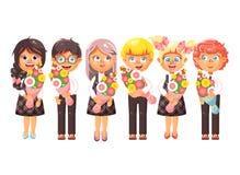 Vektorillustrationen isolerade studenter för elever för klasskompisar för skolbarn för barn för tecknad filmtecken som står med stock illustrationer