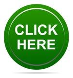 Vektorillustrationen klickar här den gröna knappen för symbolsrundarengöringsduken arkivbilder