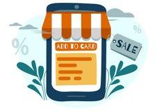 Vektorillustrationen, lägenhetstil, online-shopping, beställer direktanslutet till och med telefonen, online-lagret, affärsidéen, royaltyfri illustrationer