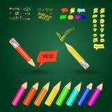 Vektorillustrationen med blyertspennor, tecken och anförande bubblar Arkivfoto