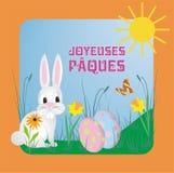Vektorillustrationen med gullig Kanin-kanin och fransk text Joyeuses Pâques, betyder lycklig påsk vektor illustrationer