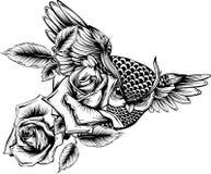 Vektorillustrationen med handen drog utsmyckade ugglan med steg blommor stock illustrationer