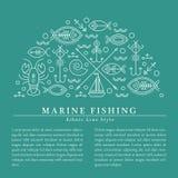 Vektorillustrationen med skisserat nautiskt och fiske undertecknar att bilda encirkel royaltyfri illustrationer