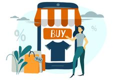Vektorillustrationen, online-shopping, beställer direktanslutet till och med telefonen, online-lagret, affärsidéen, köpandet och  vektor illustrationer