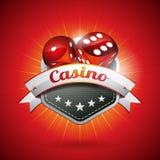 Vektorillustrationen på ett kasinotema med tärnar och bandet Arkivbilder