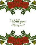 Vektorillustrationen som den r?da rosa blommaramen blommar med dekorativt, ska du att gifta sig mig stock illustrationer