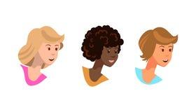 Vektorillustrationen ställde in att le för rävunga flickor royaltyfri illustrationer