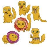 Vektorillustrationen ställde in av katter, plana symboler Tecknad film med sushi, kaffe, pizza, muffin i ljust rödbrun och viol vektor illustrationer