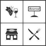 Vektorillustrationen ställde in medicinska symboler Beståndsdelar av vin och druvor som reserveras, restaurang och korsad gaffel  stock illustrationer