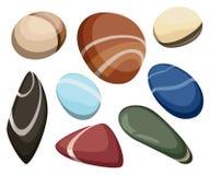 Vektorillustrationen vaggar stentecknad filmuppsättningen av olika stenblock som den naturliga havsbrunnsorten vaggar modig konst royaltyfri illustrationer