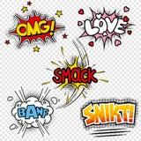 Vektorillustrationen von komischen Klangeffekten Stockfotos