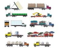 Vektorillustrationer av den tunga transportlastbilen stock illustrationer