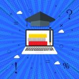 Vektorillustrationer av e-att lära och online-utbildningsbegrepp från utbildning direktanslutet vektorillustration p? en bl? bakg stock illustrationer