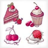 Vektorillustrationer av efterrätten Royaltyfria Foton