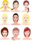Vektorillustrationer av härliga unga flickor med olika framsidor och hårstil stock illustrationer