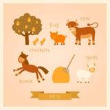 Vektorillustrationer av lantgårddjur Royaltyfri Bild
