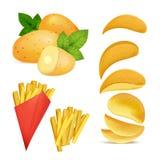 Vektorillustrationer av mellanmål eller chiper Bilder i tecknad filmstil av den stekte potatisen Arkivfoton
