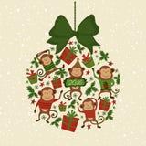 Vektorillustrationform av julgranen leker med apor, symbol av det nya året 2016 Arkivbilder
