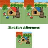 Vektorillustrationfynd 5 skillnader i bilden med hunden stock illustrationer