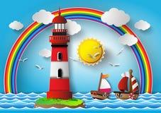 Vektorillustrationfyr med seascape stock illustrationer