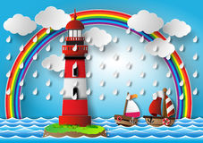 Vektorillustrationfyr med seascape vektor illustrationer
