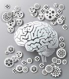 Vektorillustrationhjärna och kugghjul Fotografering för Bildbyråer