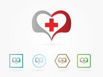 Vektorillustrationhjärta med vård- logo Arkivfoto