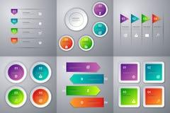 Vektorillustrationinfographics Uppsättning av sex färgrika mallar stock illustrationer