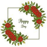 Vektorillustrationkonst steg bouqetramen för dekorativt av den lyckliga dagen för kortet stock illustrationer