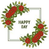 Vektorillustrationkonst steg bouqetramen f?r dekorativt av den lyckliga dagen f?r kortet stock illustrationer