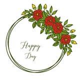 Vektorillustrationkonst steg bouqetramen f?r dekorativt av den lyckliga dagen f?r kortet vektor illustrationer