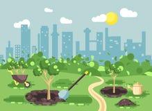 Vektorillustrationlandskap, landskap, sikt, plats som planterar trädgårds- plantor av trädet som bevattnar från geek, skottkärra stock illustrationer