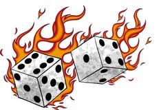 Vektorillustrationleken tärnar i brand och flammar vektor illustrationer