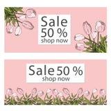 Vektorillustrationmall försäljningsbanersamling för sociala massmediabaner, rengöringsdukdesign, att shoppa som är on-line, affis royaltyfria foton