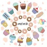 Vektorillustrationmeny för restaurang eller kafé med sötsaker Stock Illustrationer