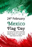 VektorillustrationMexico nationell dag, mexicansk flagga i moderiktig stil 24 Februari dag av flaggan Mexico mall för restaurang  royaltyfri illustrationer