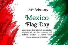 VektorillustrationMexico nationell dag, mexicansk flagga i moderiktig stil 24 Februari dag av flaggan Mexico mall för restaurang  royaltyfri fotografi