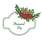Vektorillustrationmodell av den rosa f?rgrika blommaramen f?r dekorativt kort av minnesdagen stock illustrationer