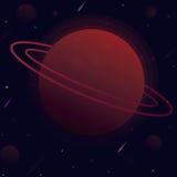 Vektorillustrationplanet med sfären av utrymme runt om satelliter och komet för en stjärna Royaltyfri Foto