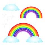 Vektorillustrationregnbåge med molnuppsättningen vektor illustrationer