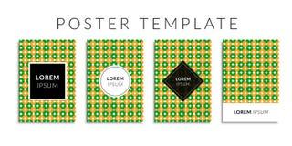 Vektorillustrations-Abdeckungssatz Hintergrund mit geometrischer grün-orange Kreisform Lizenzfreies Stockfoto