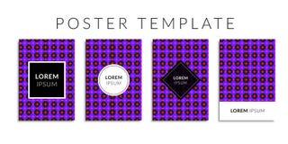 Vektorillustrations-Abdeckungssatz Hintergrund mit geometrischer violetter Kreisform Lizenzfreie Stockbilder