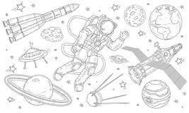 Vektorillustrations-Astronautenfliegen im Raum unter den Planeten, den Satelliten und den Raketen lizenzfreie stockfotos