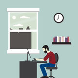 Vektorillustrations-Geschäftslokal Mann, der an einem Computer sitzt lizenzfreie stockbilder